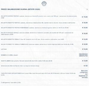 Prezzi Balneazione Piscina Pavoniere Estate 2020